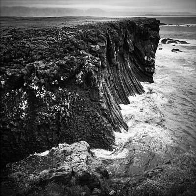 Rock Photograph - Iceland Coast Black And White by Matthias Hauser