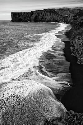 Photograph - Iceland Coast Dyrholaey Black And White by Matthias Hauser