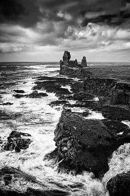 Photograph - Iceland Coast Malarrif Black And White by Matthias Hauser