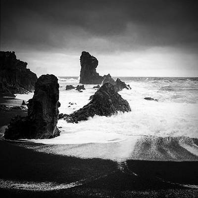 Water Wall Art - Photograph - Iceland Dritvik Beach And Cliffs Dramatic Black And White by Matthias Hauser