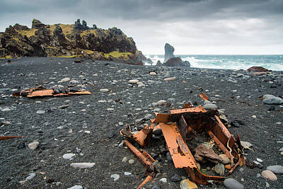 Photograph - Iceland Dritvik Pebbled Beach With Shipwreck Pieces by Matthias Hauser