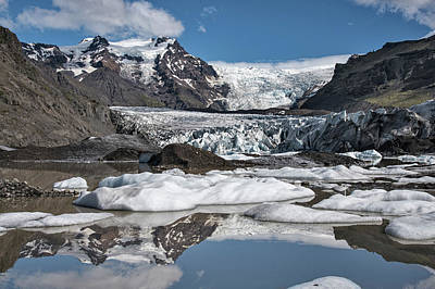 Photograph - Iceland Glacier Snow Reflections by Dave Dilli