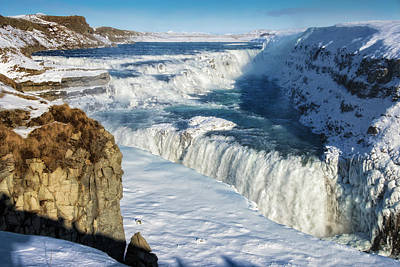 Print featuring the photograph Iceland Gullfoss Waterfall In Winter With Snow by Matthias Hauser