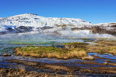 Print featuring the photograph Iceland Landscape Geothermal Area Haukadalur by Matthias Hauser