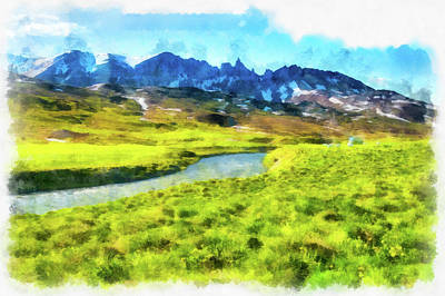 Photograph - Iceland Landscape Green And Blue Aquarell Painting by Matthias Hauser