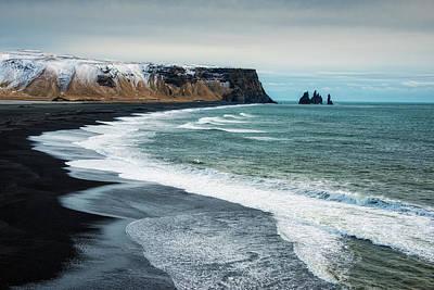 Photograph - Iceland Reynisfjara Black Beach And Ocean by Matthias Hauser