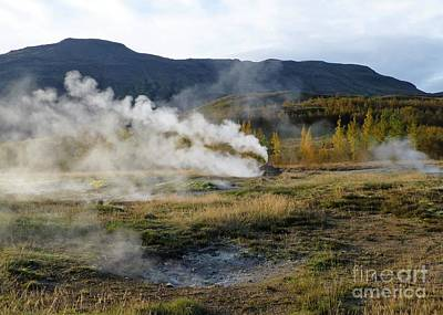 Photograph - Icelandic Fall Scenery With Thermal Features by Barbie Corbett-Newmin