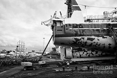 Repaint Photograph - Icelandic Freezer Factory Fishing Trawler Vigri Re-71 Undergoing Repainting In Dry Dock Reykjavik by Joe Fox