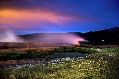 Art Print featuring the photograph Icelandic Geyser At Night by Dubi Roman