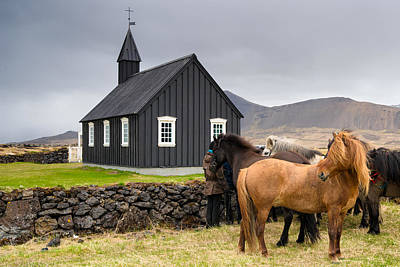 Photograph - Icelandic Horses And Budir Church Iceland by Matthias Hauser