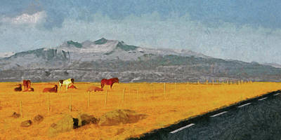 Digital Art - Icelandic Horses On The Snaefellsnes Peninsula by Digital Photographic Arts