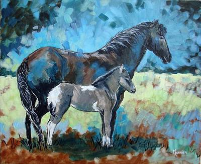 Icelandic Horse Painting - Icelandic Mare And Her Foal by Cathy MONNIER