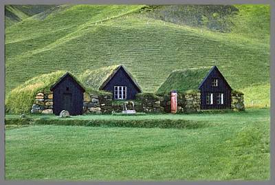 Icelandic Turf Homes Art Print by Mario Carini