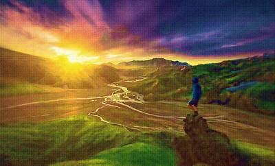 Digital Manipulation Painting - Icelandic Valley Views by Mario Carini