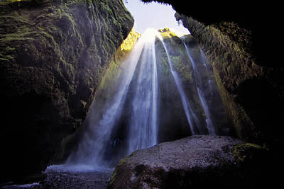 Photograph - Icelandic Waterfall Cave by Jack Nevitt