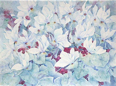 Painting - Icy Cyclamens by Lisa Vincent