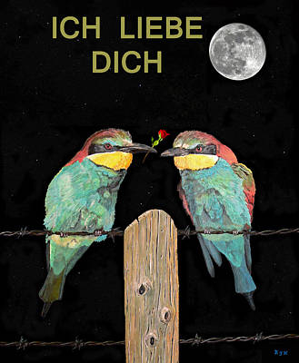 Painting - Ich Liebe Dich  Happy Valentines Bee Eaters  by Eric Kempson