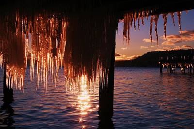 Photograph - Icicle Stars Sunset by Sean Sarsfield