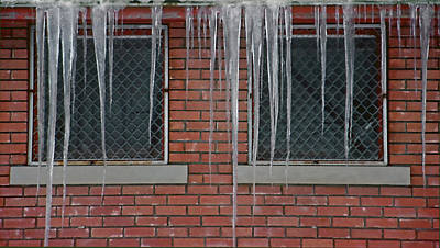 Icicles 2 - In Front Of Windows Off Red Brick Bldg. Art Print by Steve Ohlsen