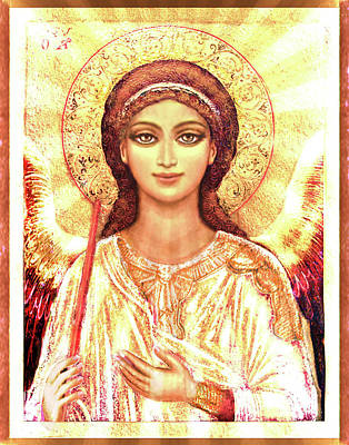 Byzantine Mixed Media - Icon Angel In A White Halo by Ananda Vdovic