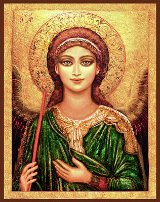 Christian Mixed Media - Icon Angel In Green by Ananda Vdovic