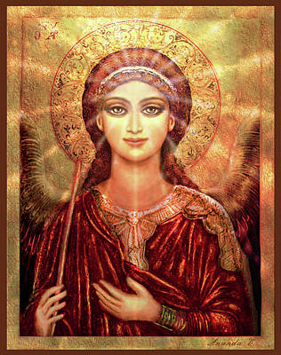 Mixed Media - Icon Angel In Red With Light by Ananda Vdovic
