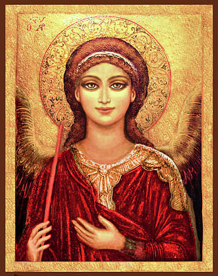 Byzantine Mixed Media - Icon Archangel In Red  by Ananda Vdovic
