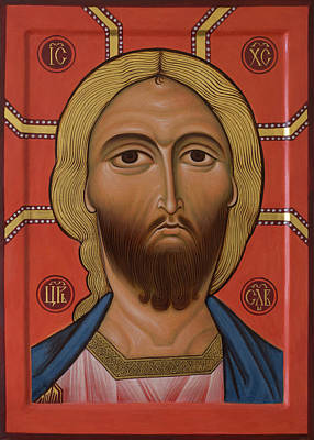 Egg Tempera Mixed Media - Icon Of Christ With The Golden Hair by Phil Davydov