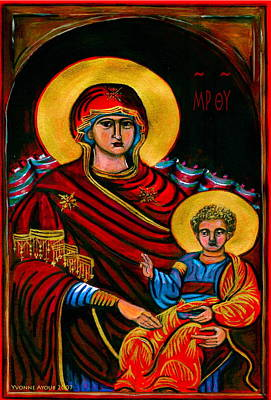Greek Icon Painting - Icon  by Yvonne Ayoub