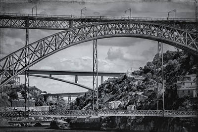 Photograph - Iconic Bridges Of Porto In Black And White  by Carol Japp