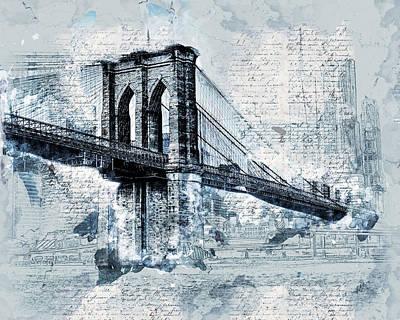 Brooklyn Bridge Mixed Media - Iconic Brooklyn Bridge by Melissa Smith