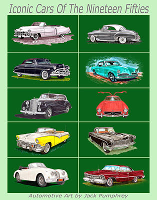 Painting - Iconic Cars Of The 1950s by Jack Pumphrey