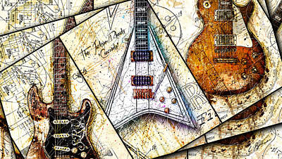 Randy Rhoads Digital Art - Iconic Guitars Panel 1 by Gary Bodnar