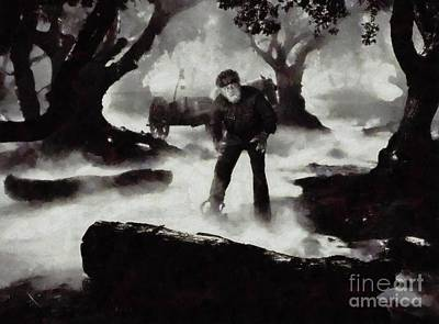 Musicians Royalty Free Images - Iconic Movie Scenes - Wolf Man Royalty-Free Image by Mary Bassett