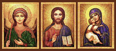 Mixed Media - Icons Tryptichon- Angel, Jesus And Mary by Ananda Vdovic