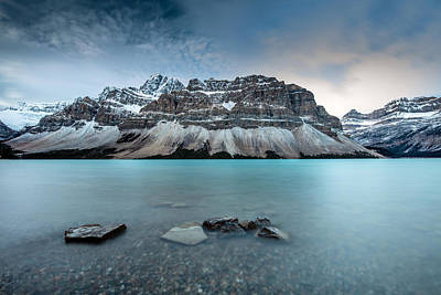 Photograph - Icy Blue Bow Lake On The Icefield Parkway by Pierre Leclerc Photography