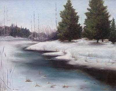 Art Print featuring the painting Icy Blue by Diane Daigle