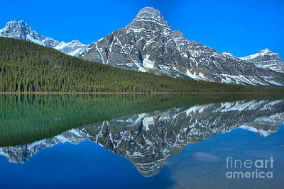 Photograph - Icy Blue Mt Chephren Reflections by Adam Jewell