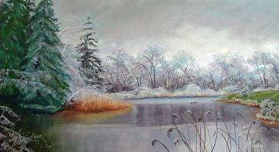 Icy Connecticut Morning Art Print by Linda Preece