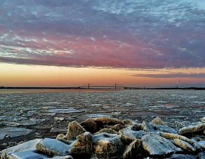Photograph - Icy Delaware At Sunset by Ed Sweeney