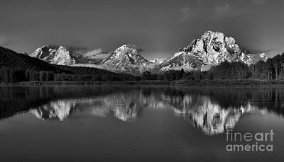 Photograph - Icy Fall Oxbow Reflections Black And White by Adam Jewell