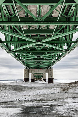 Print featuring the photograph Icy Mackinac Bridge In Winter by John McGraw