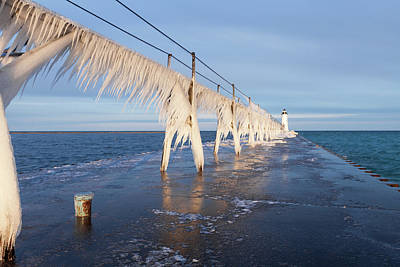 Photograph - Icy Manistee Pierhead Lighthouse by Fran Riley