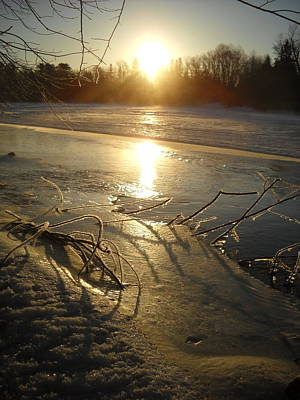 Photograph - Icy Mississippi River Bank At Sunrise by Kent Lorentzen