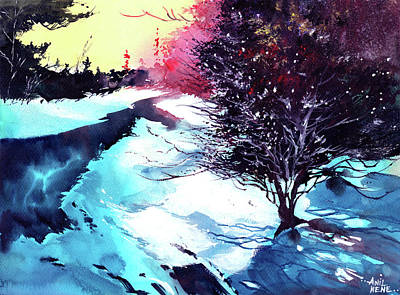 Anil Nene Painting - Icy Morning by Anil Nene