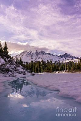 Priska Wettstein Pink Hues - Icy Rainier Reflection by Mike Reid