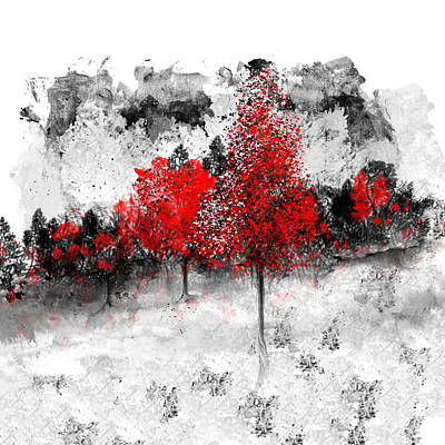 Digital Art - Icy Red Landscape by Jessica Wright