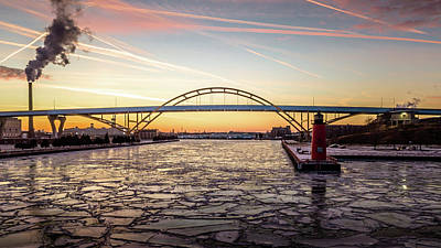 Photograph - Icy River Sunset by Randy Scherkenbach