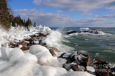 Photograph - Icy Superior Waves by Sandra Updyke