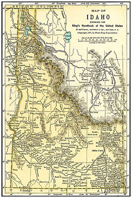 Photograph - Idaho Antique Map 1891 by Phil Cardamone